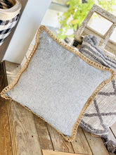 Load image into Gallery viewer, JUTE TRIM GRAY PILLOW - Infinity Raine