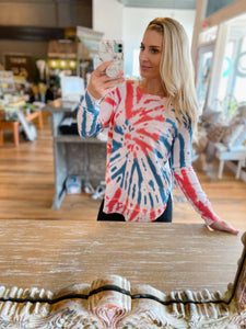 BLUR THE LINES TIE DYE SWEATSHIRT- RED, WHITE, AND BLUE - Infinity Raine