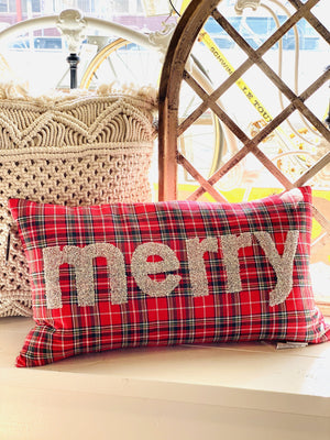 SILVER MERRY DECOR PILLOW-RED PLAID - Infinity Raine