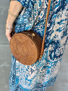 STROLL WITH ME HAND WOVEN LEATHER ROUND BAG-BROWN - Infinity Raine