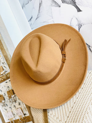 WHERE IT ALL STARTS WIDE BRIM BELTED HAT- DARK KHAKI - Infinity Raine