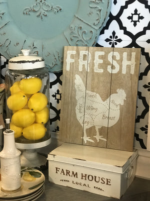 FRESH CHICKEN WOODEN SIGN - Infinity Raine