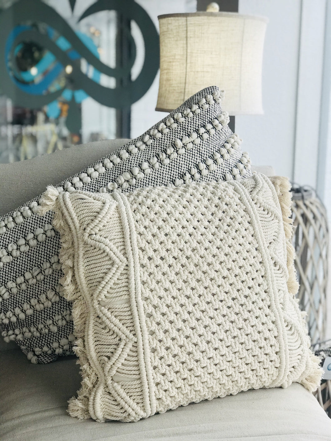 WEAVING MY WAY THROUGH WOVEN THROW PILLOW- BEIGE - Infinity Raine