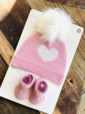 SPARKLING HEART BEANIE AND SOCK SET-PINK - Infinity Raine