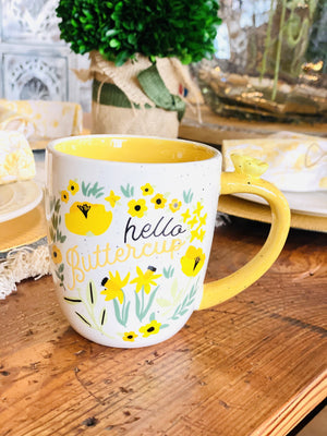 Hello Buttercup Speckled Mug-Off White/Yellow - Infinity Raine