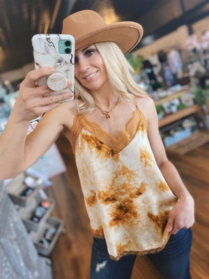 Looking For You Tie Dye Lace Cami-Caramel - Infinity Raine