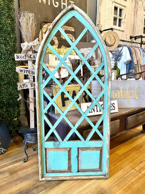 ANTIQUED PRATO WOOD WINDOW-TURQUOISE - Infinity Raine