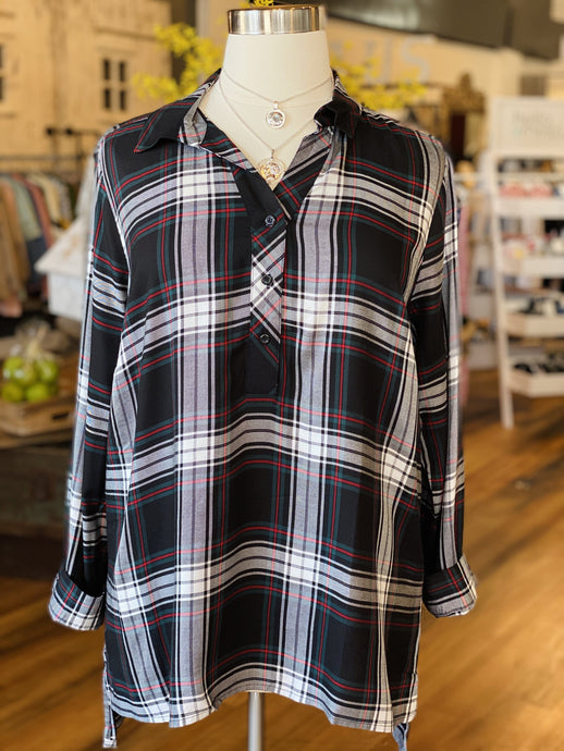 PER SE PLUS SIZE PLAID TUNIC TOP-BLACK/GREEN/RED - Infinity Raine
