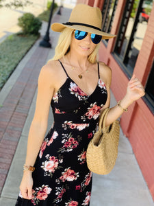 TRADE THE WORLD FLORAL MAXI DRESS-BLACK - Infinity Raine