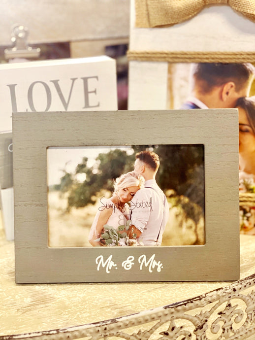 SIMPLY STATED MR. & MRS GRAY WASHED PICTURE FRAME - Infinity Raine