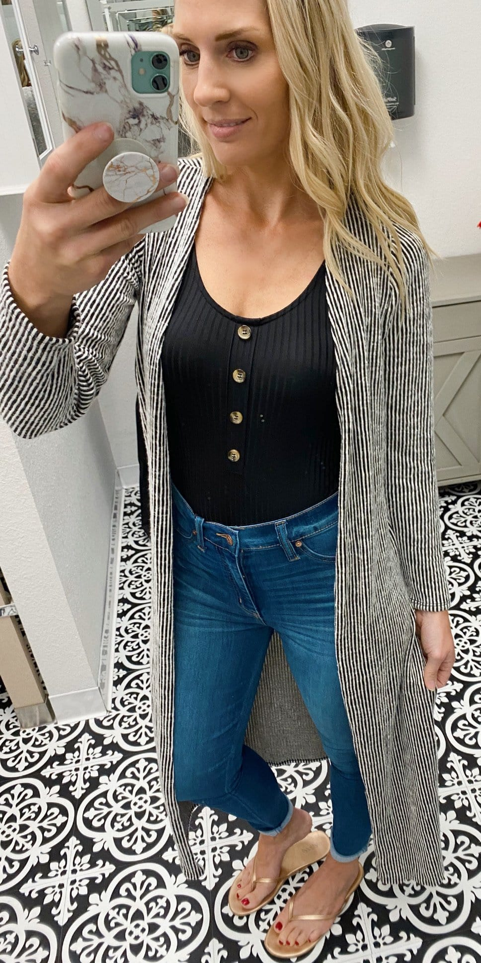 TOPMAXX PINSTRIPED SOFT KNIT LONG SLEEVE DUSTER-BLACK/WHITE - Infinity Raine