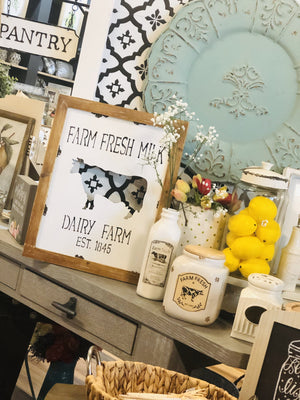 FRESH FARM MILK METAL WITH WOODEN FRAME SIGN - Infinity Raine