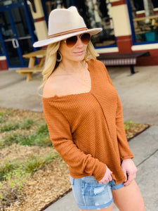 CASUAL FRIDAY WAFFLE KNIT TOP-CAMEL - Infinity Raine
