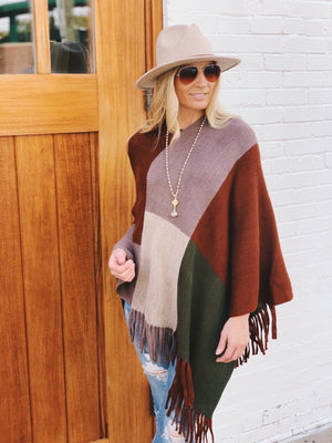 IN THE WIND SCARF PONCHO-RUST/MOCHA - Infinity Raine