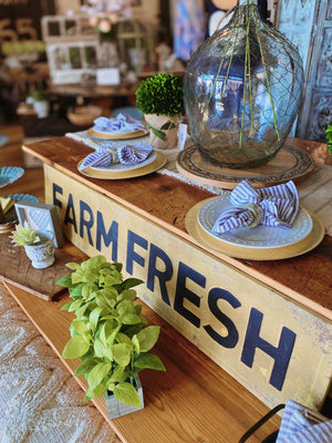 FARM FRESH VINTAGE SIGN- YELLOW - Infinity Raine