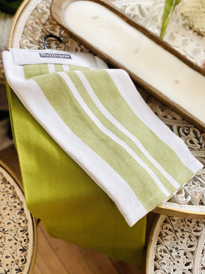 GREEN STRIPE SOLID TEA TOWEL Set 2 - Infinity Raine