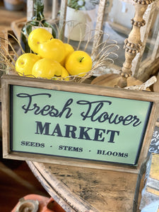 FRESH FLOWER MARKET METAL VINTAGE SIGN-GREEN - Infinity Raine