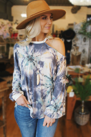 Already On My Mind Tie Dye Asymmetrical Shoulder Top-Navy - Infinity Raine