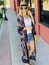 Load image into Gallery viewer, FOCUS ON THE GOOD DAMASK KIMONO-CHARCOAL - Infinity Raine