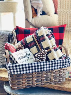 GOING MY OWN WAY BUFFALO CHECK LINED BASKET- LARGE - Infinity Raine