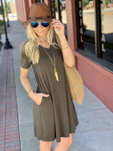 MY EVERYDAY T-SHIRT DRESS-DARK OLIVE - Infinity Raine
