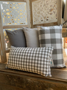 GRAY/WHITE PILLOW COVER-RECTANGLE - Infinity Raine