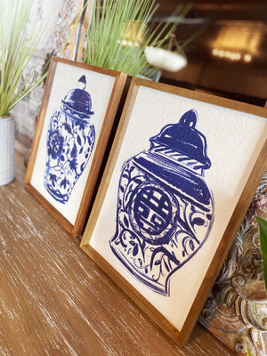 Ginger Jar Painting-Royal Blue/White - Infinity Raine