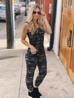 CAN'T SEE ME DRAWSTRING WAIST TANK JUMPSUIT-CAMO - Infinity Raine