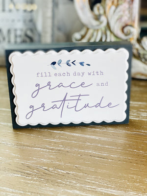 GRACE & GRATITUDE WOOD SIGN - Infinity Raine