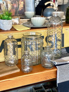 RUSTIC CHARM BOTTLE WITH CHICKEN WIRE-MINI - Infinity Raine