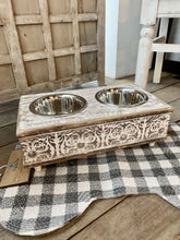 Load image into Gallery viewer, SMALL DOG FOOD/WATER BOWL STAND-DISTRESSED WHITE - Infinity Raine