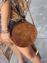 Load image into Gallery viewer, STROLL WITH ME HAND WOVEN LEATHER ROUND BAG-BROWN - Infinity Raine