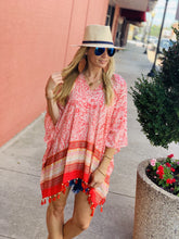 Load image into Gallery viewer, JUST BE YOU TASSEL PONCHO-CORAL - Infinity Raine