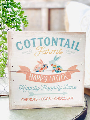 Cottontail Farm, Happy Easter Wooden Box Sign-Off White - Infinity Raine