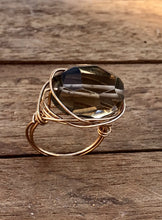 Load image into Gallery viewer, STATEMENT BOHEMIAN STONE WIRE RING GOLD/SMOKEY QUARTZ - Infinity Raine
