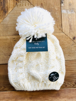 SNUGGLE BUDDY TODDLER BEANIE/MITTEN SET-WHITE - Infinity Raine