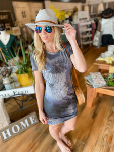 GIRLS DAY OUT TIE DYE T-SHIRT DRESS-CHARCOAL - Infinity Raine