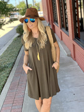 Load image into Gallery viewer, MY EVERYDAY T-SHIRT DRESS-DARK OLIVE - Infinity Raine