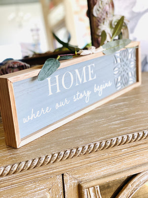 """STORY BEGINS"" WOODEN WALL ART-GRAY - Infinity Raine"