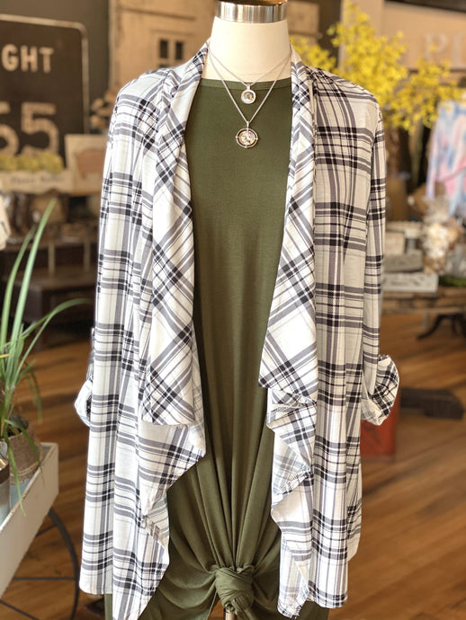 ENDLESS POSSIBILITIES WATERFALL CARDIGAN-PLAID - Infinity Raine
