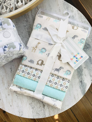 Baby Lion Set Of 4 Receiving Blankets-Cream - Infinity Raine