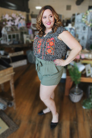 On The Move Plus Size Paperbag Shorts-Army Green - Infinity Raine