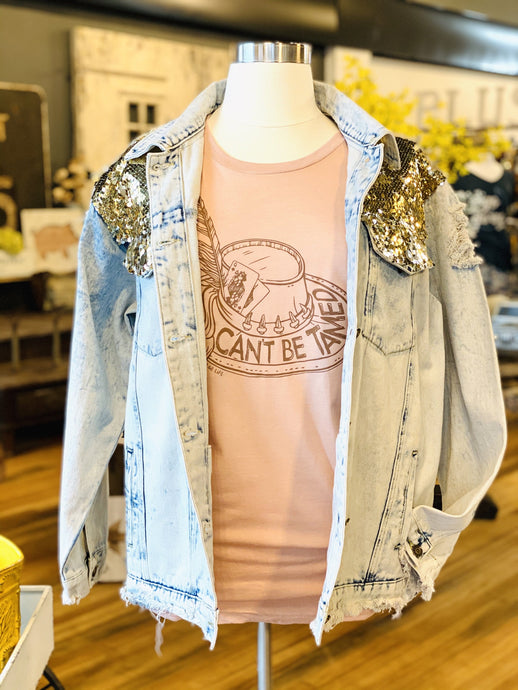 COACHELLA READY SEQUIN DENIM JACKET- PLUS - Infinity Raine