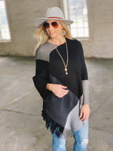 Load image into Gallery viewer, IN THE WIND SCARF PONCHO-BLACK/GREY - Infinity Raine