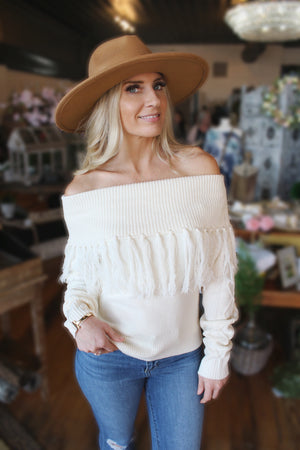 Over The Moon For You Off The Shoulder Sweater-Off White - Infinity Raine