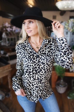 WILDLY FEIRCE BUTTON UP TOP-LEOPARD - Infinity Raine