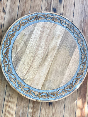 ROUND ABOUT WOOD HAND CARVED LAZY SUSAN - Infinity Raine