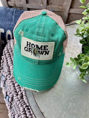 HOME GROWN DISTRESSED BASEBALL HAT-GREEN - Infinity Raine