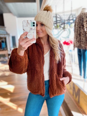 FEEL THE CHILL FULL ZIP SHERPA JACKET- HAZELNUT - Infinity Raine