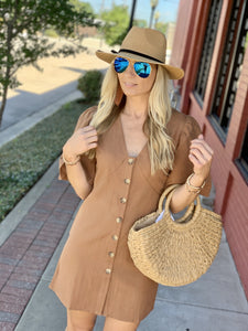 THE ONE THAT GOT AWAY SHIFT DRESS- CAMEL - Infinity Raine